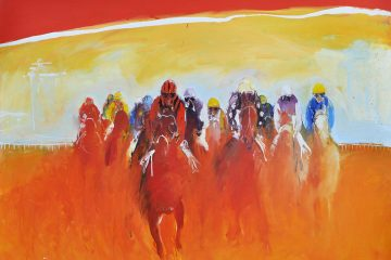 Course de chevaux, oeuvre d'art.