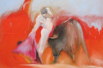 Tableau de corrida par l'artiste Carol Bathellier