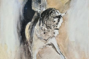 peinture à l'huile représentant un cheval et son cavalier